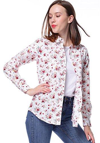 Dioufond Schön Damen Blumen Floral Printing Bluse Elegant Baumwolle Hemden Casual Dünne Langarm Bluse Halsband Tunika Top Shirt Weiß