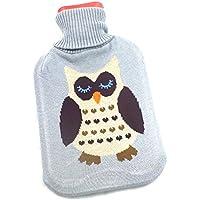 Wärmflasche 1L mit Strickbezug mit Eulenmotiv Farbe: Grau preisvergleich bei billige-tabletten.eu