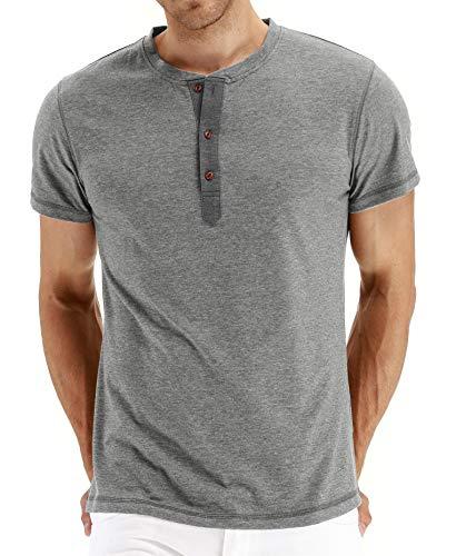 Einfarbiges Rundhals-T-Shirt für Herren mit V-AusschnittHerren Kurzarm T-Shirt Grau S