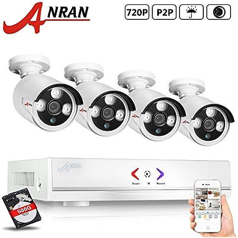 ANRAN 4CH 720p AHD sicurezza di telecamere di Sistema di