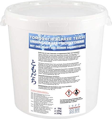 Tomodachi Aktivsauerstoff Koiteich - Teichhygiene und Algenbekämpfung mit reinem Sauerstoff, beseitigt Nitrit, befördert Laub und Algen an die Oberfläche, bringt Sauerstoff in den Teich, 5kg Eimer