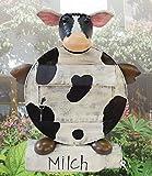 """Decorazione-cassetta per le lettere """"a forma di"""", immagine: mucca con giornale rotolo in forma di una caraffa latte 2169"""