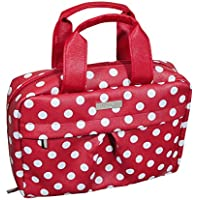 Audacity Hanging Red and White Polka Dot Cosmetic Travel Toiletry Wash Bag with handles for women and girls