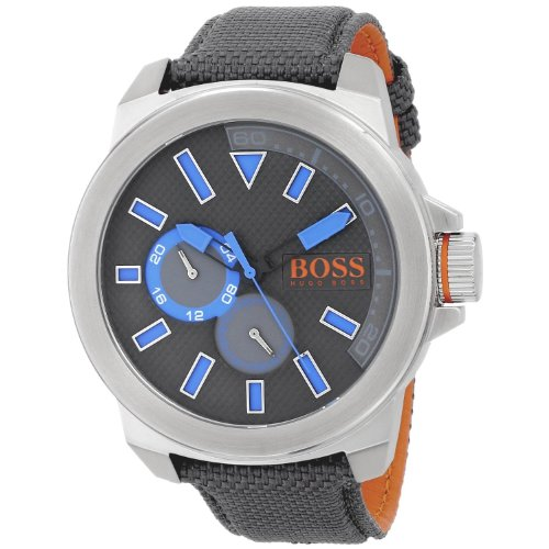 HUGO BOSS HB-1513013 GENTS GREY NYLON 50MM STAINLESS STEEL CASE DATE WATCH