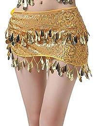 d4d2b7c43001 Gyratedream Danse du Ventre Costume Femme Soutien Gorge Haut à Sequins + Ceinture  Jupe Foulard Danse