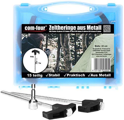 com-four® 15-teiliges Set Zelt-Heringe aus Stahl - Schraubheringe im Koffer - robuste Erdnägel mit Gewinde für Camping und Outdoor - Zeltpflöcke ideal für harten Boden