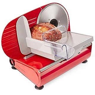Andrew James – Elektrische Präzisions-Aufschnittmaschine Allesschneider in Rot – 19cm Klinge + 2 Extra Klingen für Brot und Fleisch – 2 Jahre Garantie