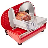 Andrew James Red Electric Precision Food Slicer 19cm Blade + Includes 2 Extra Blades For Bread and Meat