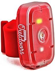 Luz de Seguridad LED / Linterna (Pack de 1) Luces de Rojas y Blancas para correr, pasear perros, ciclismo y deportes nocturnos. Luz estroboscópica, y modos estables. Recargable mediante USB con la correa de la bicicleta, correa para el brazo y hebilla de cinturón.