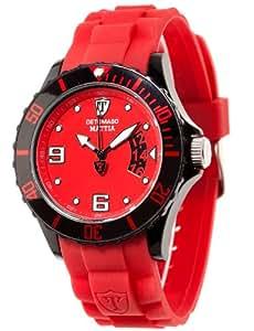DETOMASO Herrenuhr Quarz Kunststoffgehäuse Silikonarmband Mineralglas MATTIA Silikon Trend rot/rot DT2011-C