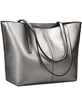 S-ZONE Damen einfach echtes Leder Henkeltasche elegant Handtasche Schultertasche