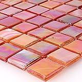 Mosaikfliesen Glasmosaik Fliesen Perlmutt Effekt Rot Mix