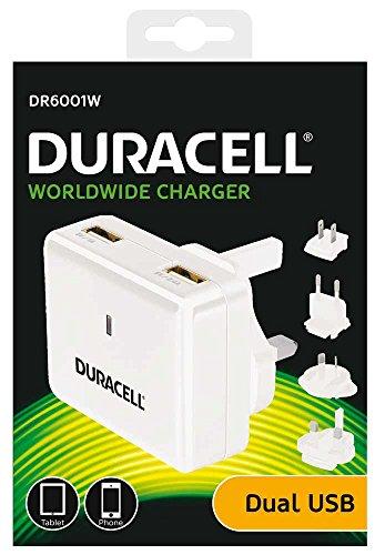 Duracell Mobile Charger (Duracell 3.4A 2-Port USB Reiseladegerät für Tablet/Smartphone, Eingang 100-240V mit 4 Austauschbare Wandstecker (EU/UK/US/AU))