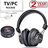 Avantree HT3189 Auriculares Inalambricos TV con Transmisor Bluetooth, para PC Video Juegos, Aux 3.5mm & RCA (NO OPTICA) Sin Retardo de Audio, Largo Alcance, 40 Horas de Batería, PRE-EMPAREJADO