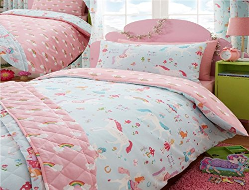 Kidz Club Magical Unicorns Childrens Toddler Bed Duvet Cover and Pillowcase Set, Blue