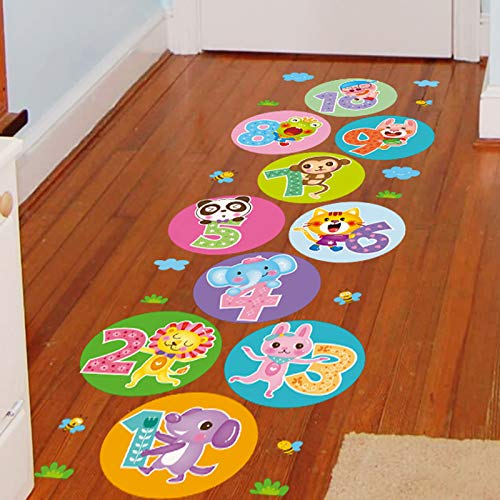 en Klassenzimmer Boden Aufkleber Tier Spiel Überspringen Gitter Aufkleber Kinderzimmer Wandmalerei ()