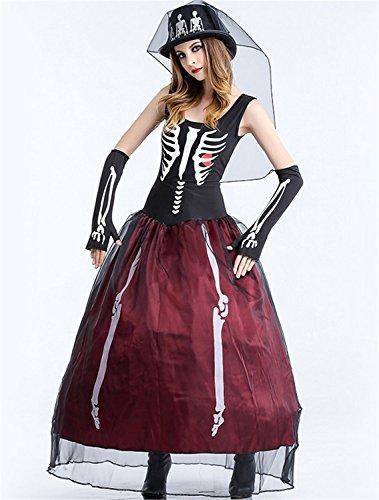 WLITTLE Halloween Kostüm Damen Faschingkostüm Halloween-Party Cosplay Weiß Hölle Skelett Geist Braut Horror GeistKostüm