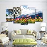 LAKHAFZY Leinwandbild 5 Wandkunst Wohnzimmer Dekor Blumen Himmel Baum Gemälde Hd Drucke Schöne Natur Der Schweiz Plakate