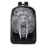 Sac à dos de personnalité, animal créatif 3D sac à ordinateur portable de sports de plein air en forme de tigre à dents de sabre stéréoscopique en forme de week-end pour les voyages, les achats,Silver...