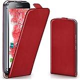 OneFlow Tasche für Samsung Galaxy S5 / S5 Neo Hülle Cover mit Magnet | Flip Case Etui Handyhülle zum Aufklappen | Handytasche Handy Schutz Bumper Schutzhülle mit Schale in Hellrot
