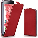Samsung Galaxy S5 Mini Hülle Rot [OneFlow 360° Klapp-Hülle] Etui thin Handytasche Dünn Handyhülle für Samsung Galaxy S5 Mini Case Flip Cover Schutzhülle Kunst-Leder Tasche