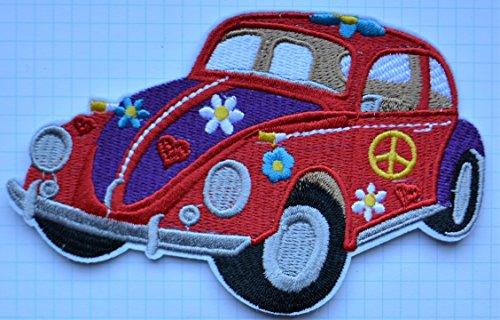 Parche de tela bordada de estilo hippie con un coche escarabajo con fl
