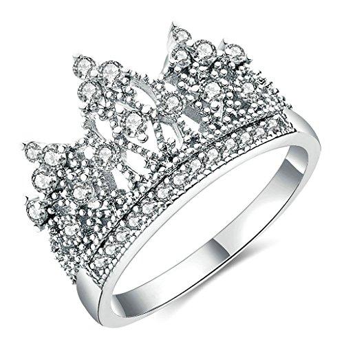 Gnzoe Gioielli,Placcato argento Gorgeous Lei Principessa Corona Tiara Anello Matrimonio CZ Eternity Anello Dimensione 12
