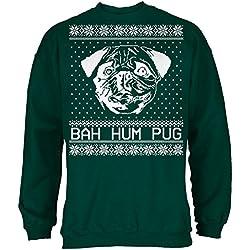 Navidad Bah Hum Pug bosque sudadera adulto - X-grande
