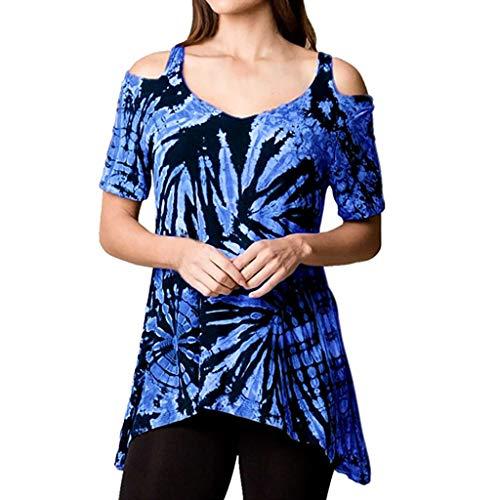 MRULIC Damen Sommer Shirt Schulterfrei Unregelmäßige Beiläufige Krawatte Färbend Druckbluse Shirt Tops Tuniken(Blau,EU-34/CN-S) -