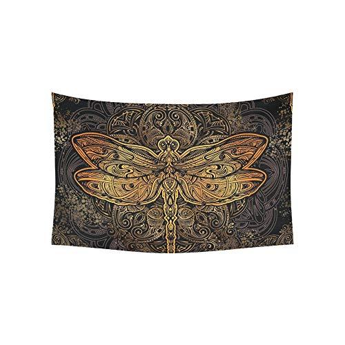 Tapisserie Exquisite Golden Ornate Stilisierte Wandteppiche Wandbehang Blume Psychedelic Tapisserie Wandbehang Indischen Wohnheim Dekor Für Wohnzimmer Schlafzimmer 60 X 40 Zoll -