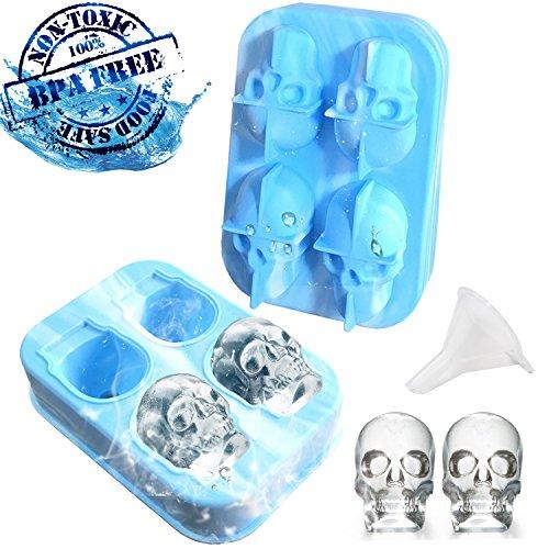 3D Totenkopf Silikonform Silikon Eiswürfelformen mit Trichter für Bier Whisky, Freunde, Halloween.(Weiß&blau Mix)