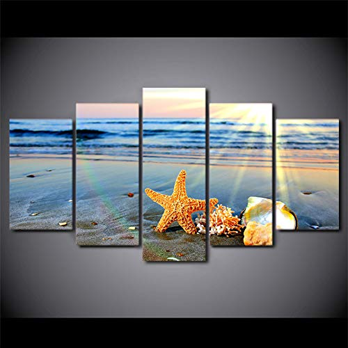 guyuell Modular Painting Canvas Wall Art Pictures Home Decor 5 Pieces Beach Rainbow Landscape Starfish Sea Shells Modern Poster-30Cmx40/60/80Cm,with Frame