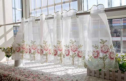 GHFDSJHSD Vorhang Stickerei Blumen Halber Vorhang Schön Kurzer Vorhang Bildschirmvorhänge Teile den Vorhang Küche Kaffee Vorhang Schränke Vorhänge Eine Scheibe Kein Zubehör Reines Weiß -