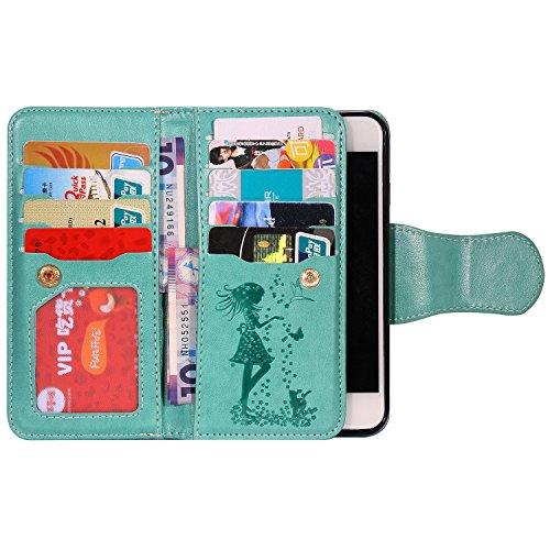 Sunroyal iPhone 8 Coque Cuir PU Phone Etui , Housse iPhone 7 Portefeuille Porte-Monnaie Couverture dans le Livre de Style Stand Wallet Motif Fille Fleur Case Cover PU Flip en Cuir Carte Fente Cuir Poc Vert
