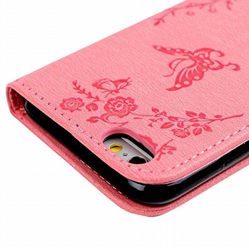 Étui pour Apple iPhone 6 Plus / iPhone 6S Plus (5,5 pouces), HB-Int 3 en 1 Bleu Foncé PU Cuir Diamant Housse Papillon Fleur Motif Coque Flip Wallet Etui avec Lanyard Protection Stand Fonction Cover Ca Rose