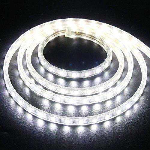 XUNATA 4m Tira de LED Regulable Blanco frio, 220V 5050 LED SMD 60 Unidades/m Luz Cuerda Dimmable, IP67 Impermeable para Decoración Interior