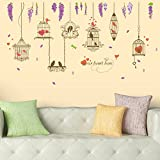 #9: Amazon Brand - Solimo Wall Sticker for Living Room (Lovebirds, Ideal Size on Wall: 170 x 93 cm)