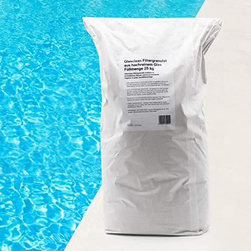 glassclean 1901-25 kg Filtermedium Glasgranulat - Körnung 350-850 µm - für alle Handels-üblichen Pool-Sandfilteranlagen geeignet - glasklares Pool-Wasser - um 25{a19fff7ccb0e2a6aa1bfae7fdcf3090a5543d3c6b46335b8c7158f393979e287} ergiebiger als Filtersand.