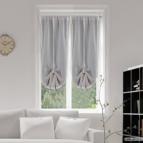 Coppia tendine estella merletto - 60x150, grigio