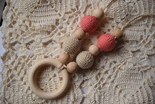 cream salamon crochet sling, Breastfeeding Necklace, Crochet Nursing Necklace, Teething necklace with crochet beads - baby shower gift