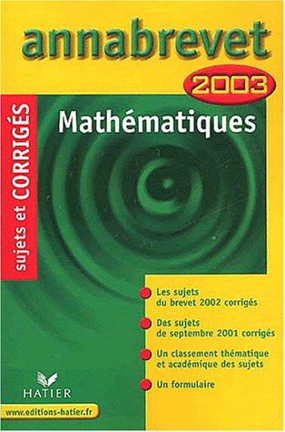 Mathématiques 2003 par Bernard Demeillers