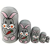 Cute Grey Rabbit Holding Carrot Handmade Wooden Russian Nesting Dolls Matryoshka Dolls Set 5 Pieces For Kids Toy Birthday Easter Gift Decoration