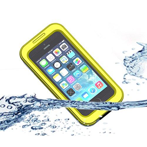 iPhone 5 5S 5C 4 4S Wasserdichte Hülle, [IP68 zertifizierte] Outdoor Wasserdichte Staubdichte Schneedichte Stoßfeste Schutzhülle Waterproof Cover Case Tasche für iPhone 5 5S 5C 4 4S (Gelb) (Wasserdicht 5 Cover Iphone)