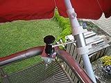 1 Stück - Balkonschirmhalterung mit 11 + 6 cm Abstands Schirmhalter - Holly patentiert - für BEFESTIGUNG an runden oder eckigen Elementen von 25 bis 42 mm mit 5 - fach verstellbare MULTI - Halterung 360 ° DREHBAR MIT GUMMISCHUTZKAPPEN zur kratzfreien BEFESTIGUNG - INNOVATIONEN MADE in GERMANY - Holly® Produkte STABIELO - holly-sunshade ® - Bei SCHIRMEN über 2,50 cm Ø - 2 Halterungen oder 2-te Befestigung verwenden aus Sicherheitsgründen (Kabelbinder)