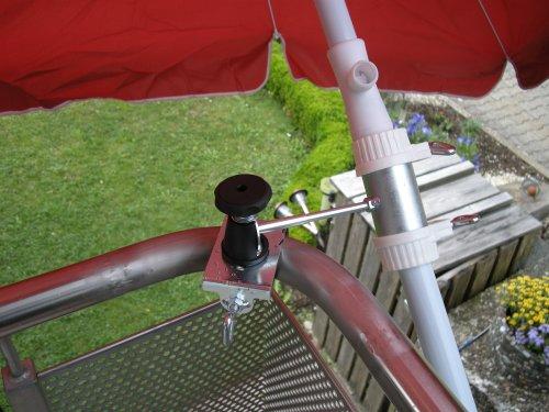 1 Stück - Balkonschirmhalterung mit 11 + 6 cm Abstands Schirmhalter - Holly patentiert - für...