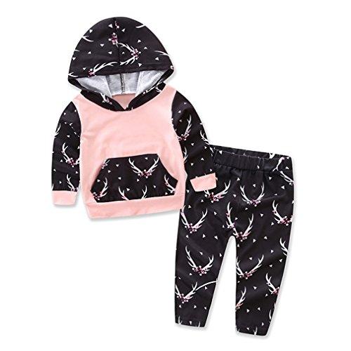 Set,Chicolife Mädchen-Geweihe Tier gedrucktes Sweatshirt und Hose 2pcs lange Hülsen-Prinzessin-Kleidung-Ausstattungen Känguru-Tasche (Baby-tier-kleidung)