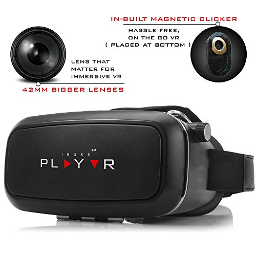IRUSU PLAY VR headset – UPGRADED 42MM Fully Adjustable virtual reality lenses with Magnetic Clicker – The best VR headset with HD Resin lenses . Virtual reality glasses calibrated with leading mobile brands like Apple iphone 6 and plus, Samsung, Xiaomi,Lenovo,Oneplus,Moto, LG, nexus,Google Pixel,LeEco le2 and other mobiles with gyroscope.Experience 360 videos, 3D and VR games like never before.