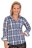 Spieth & Wensky Trachten Bluse Crashoptik, Langer Arm - Wicke - blau, lila, Größe 34