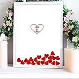 Cuadro de firmas con corazones para bodas. Personalizado. Modelo exclusivo. 45 x 55 cm.