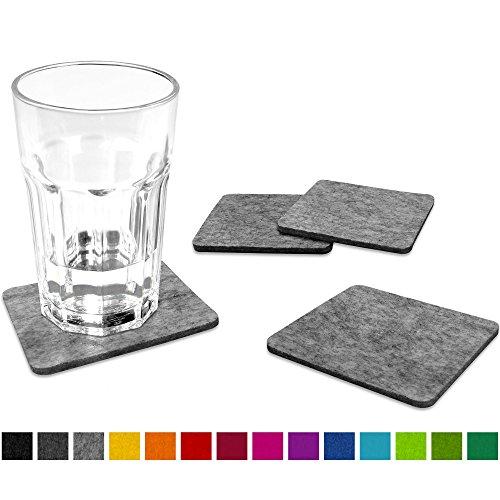 FILU Filzuntersetzer eckig 8er Pack (Farbe wählbar) hellgrau - Untersetzer aus Filz für Tisch und Bar als Glasuntersetzer / Getränkeuntersetzer für Glas und Gläser rechteckig viereckig